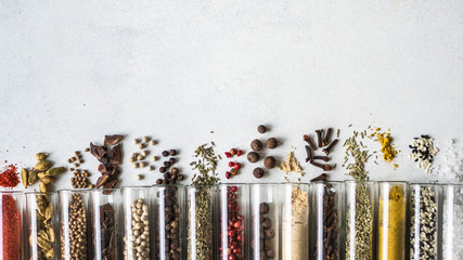 Various dry spices in glass...