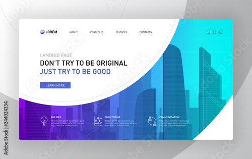 Fototapeta Landing page template for business