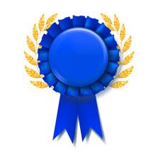 Blue Award Ribbon Vector. Rewa...