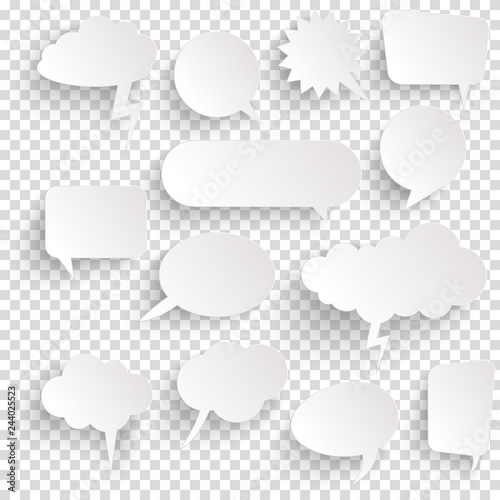 sticker speech bubbles with shadow Canvas Print