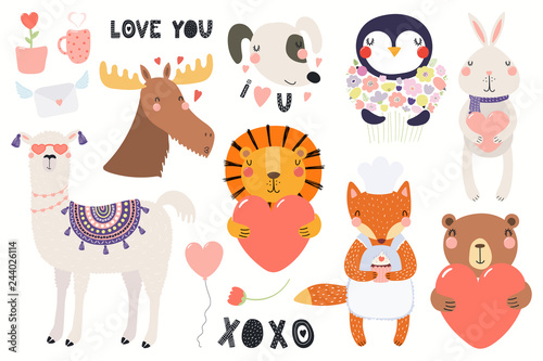 Papiers peints Des Illustrations Big Valentines day set with cute funny animals, hearts, text. Isolated objects on white background. Hand drawn vector illustration. Scandinavian style flat design. Concept for card, children print.