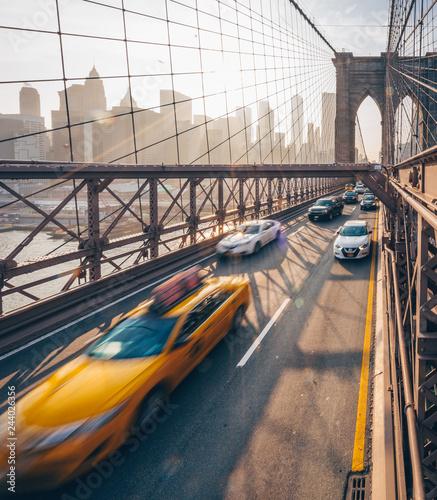 Poster New York TAXI Road traffic at Brooklyn Bridge