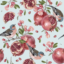 Vector Seamless Pattern With Birds On Pomegranate