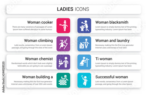 Set of 8 white ladies icons such as Woman Cooker, Climbing, Chemist