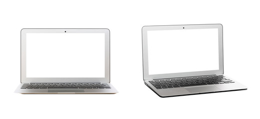 Modern silver laptop with blank screen isolated on white background. Front and side view.