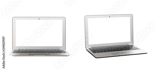 Fotografia  Modern silver laptop with blank screen isolated on white background