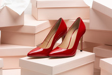 New Red Leather High Heel Shoe...