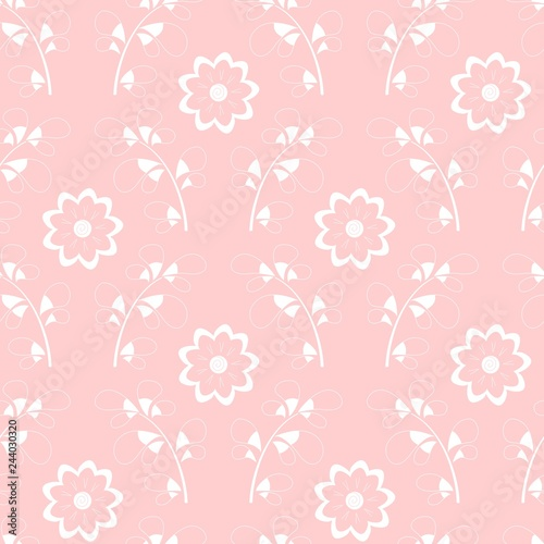 b1ab78195aef Trendy modern damask floral pattern, white hand drawn elements on ...