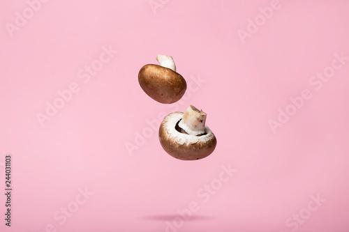 Fototapeta Splattered Flying Mushroom Abstract Food Background obraz