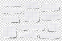 Set Of Checkered Paper Different Shapes Scraps Isolated On Transparent Background. Vector Paper Mockup.