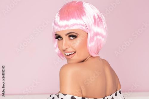 Canvas Pink bob short hairstyle woman.