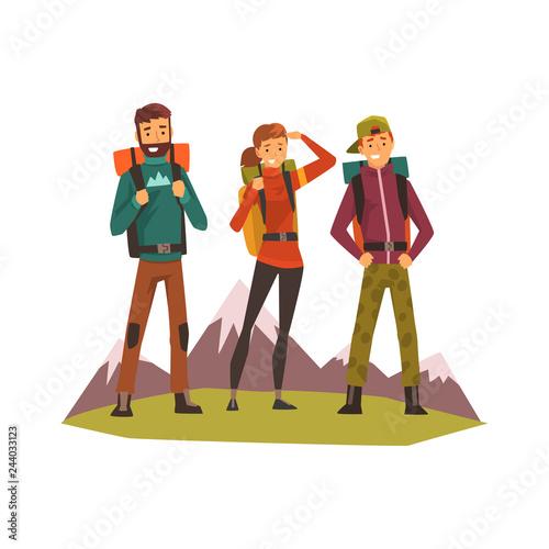 Valokuvatapetti People travelling together, tourists hiking, mountain landscape, backpacking tri