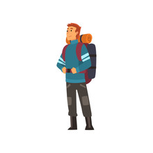 Man With Backpack, Hiking Adventure Travel, Backpacking Trip Or Expedition Vector Illustration