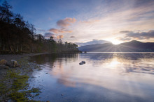 Sunset At Derwent Water Lake District England Uk
