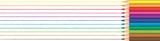 Rainbow color pencils drawn lines. Panorama illustration.