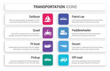 Set Of 8 White Transportation ...