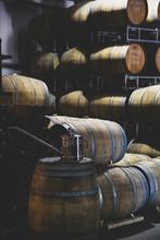 Oak Wood Wine Barrels In A Cel...