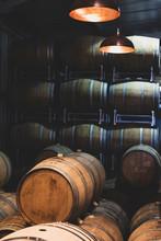 Oak Wine Barrels In A Winery, Winemaking