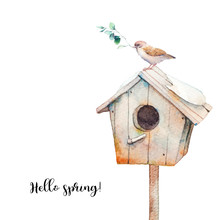 Hello Spring. Watercolor Cute ...