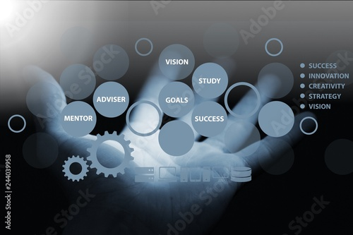 Photo  Human hand showing icons network on background