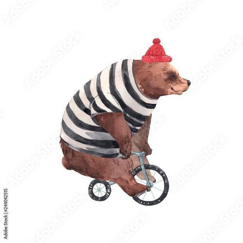 Naklejka premium Akwarela wektor niedźwiedź cyrkowy