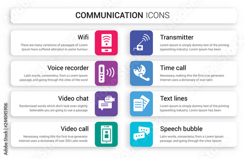 Set of 8 white communication icons such as Wifi, Voice