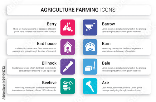 Photo  Set of 8 white agriculture farming icons such as berry, Bird house, Billhook, Be