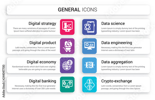 Set of 8 white general icons such as digital strategy