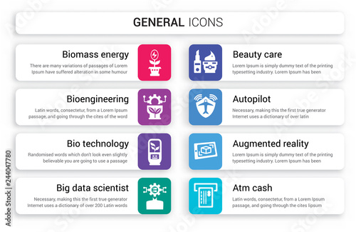 Set of 8 white general icons such as biomass energy, bioengineering