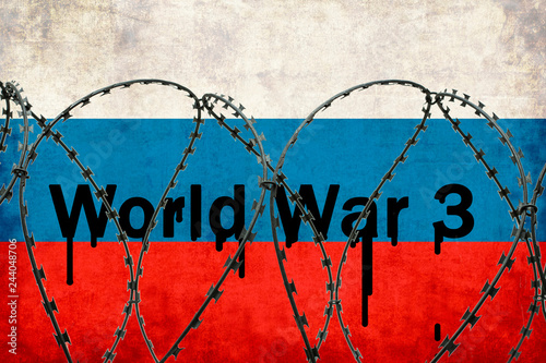 Inscription World War 3 on the background of the Russian flag behind barbed wire Canvas Print