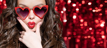Girl In Sunglasses With Lips Folded Heart