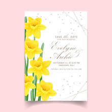 Floral Wedding Invitation With Daffodils Flower