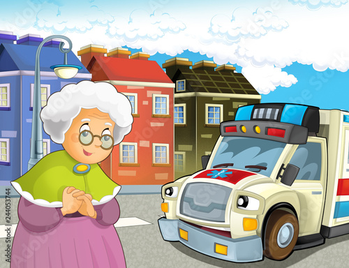 Poster Cars cartoon scene with older lady not feeling well and ambulance coming to help - illustration for children