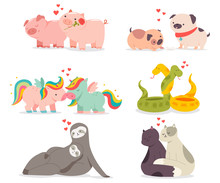 Valentine Day Concept Illustration With Cute Animals In Love. Vector Funny Cartoon Characters Couples Of Cats, Unicorns, Dogs, Sloths, Pigs And Snakes Isolated On A White Background.