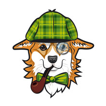 Cool Dog Welsh Corgi Face With Green Checkered Hat And Smoking Pipe Like Sherlock Holmes. Color Vector Illustration