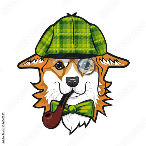 фотография Cool dog welsh corgi face with green checkered hat and smoking pipe like Sherlock Holmes