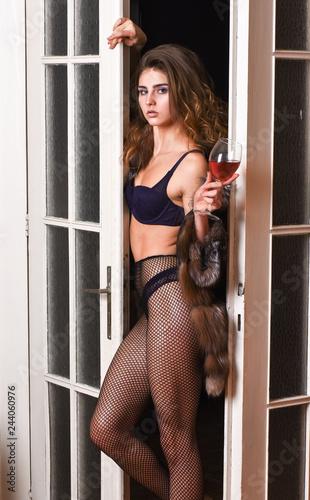 b3649ecc65b Fashion lady enjoy her seductiveness. Seduction art concept. Woman seductive  appearance. Woman seductive model wear luxury fur and elite lingerie