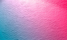 Brick Wall Neon Pink Blue Rustic Texture. Retro Used Vintage Structure. Grungy Shabby Neon Background. Design Element. Abstract Light With Space For Text