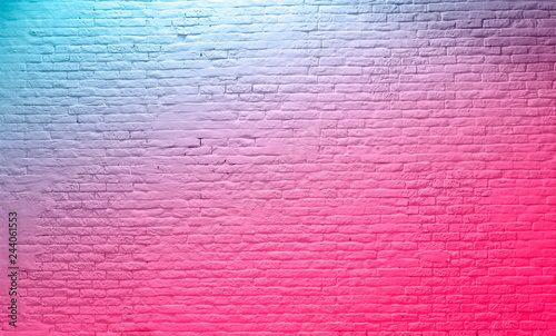 brick wall neon pink blue Rustic Texture. Retro used Vintage Structure. Grungy Shabby neon Background. Design Element. Abstract Light with space for text - 244061553