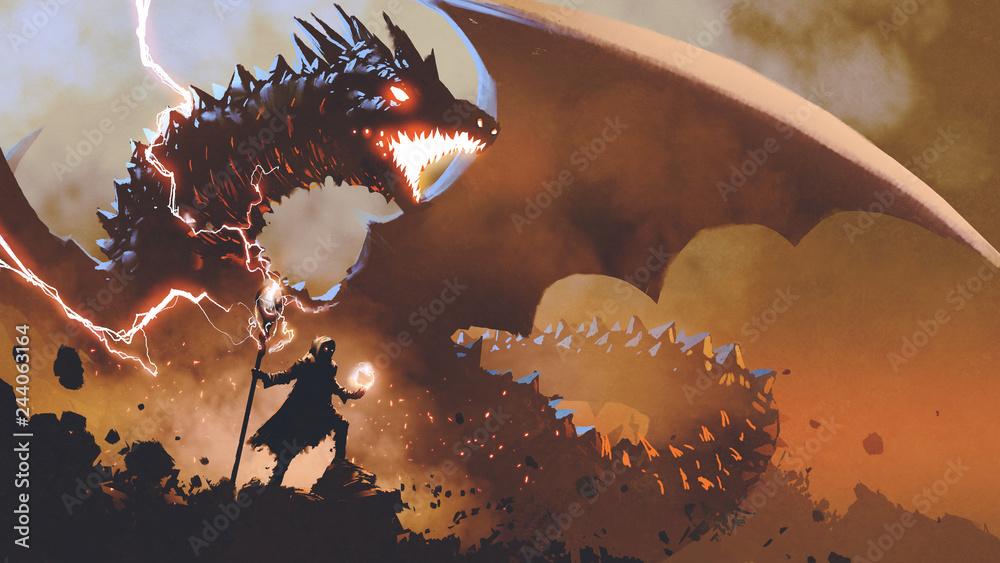 Fototapeta black wizard with a magic wand summoning the dragon, digital art style, illustration painting