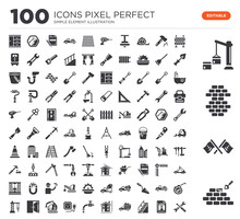 Set Of 100 Icons Such As Const...