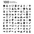 100 pack of Explosion, Soldier, Missile, Tank, Jet, Bomb, Dynamite, Gun, Medal, Plane icons, universal icons set