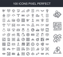 100 Line Icon Set. Trendy Thin And Simple Icons Such As Board Games With Roles, Puzzle, Labyrinth, Set, Logic Games, Playing Cards, Dice, Table Tennis, Gaming, Chess
