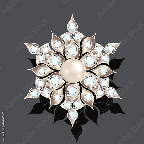 Canvas Print Illustration brooch vintage with precious stones. glamour,