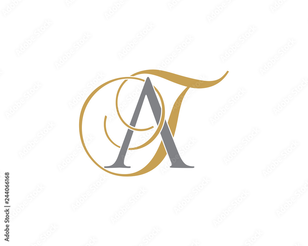 Fototapeta AT TA Letter Logo Icon 002