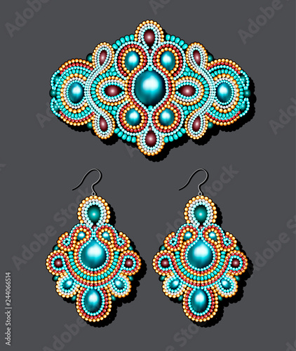 Foto Illustration of a vintage brooch of beads and earrings with pearls