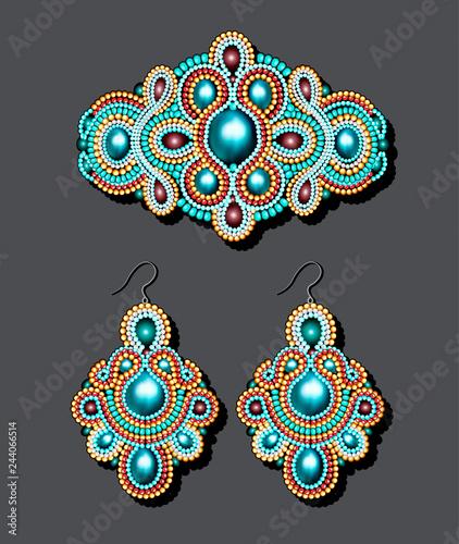 Billede på lærred Illustration of a vintage brooch of beads and earrings with pearls