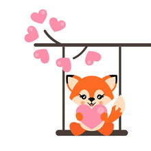 Cartoon Cute Fox With Heart On A Swing And On A Lovely Branch