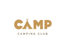 Camp Vector Sign. Camping Logo Design With Tent And Fire