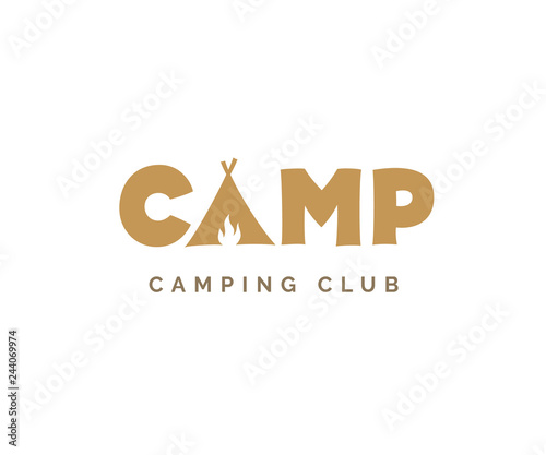 Foto Camp vector sign. Camping logo design with tent and fire